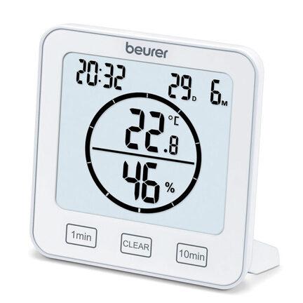Hygrometer med temperaturmåling, timer og ur
